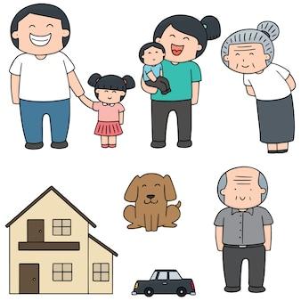 가족, 자동차 및 집의 벡터 세트