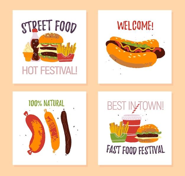 Векторный набор плакатов фестиваля быстрого питания