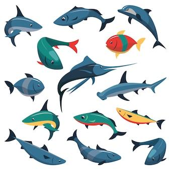 Векторный набор рыб изолированы. плоские элементы дизайна стиля.