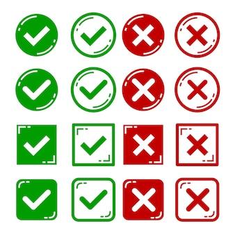 Векторный набор плоских конструкций правых и неправильных значков.