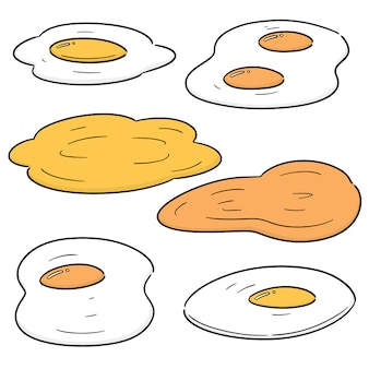 Vector set of fried egg