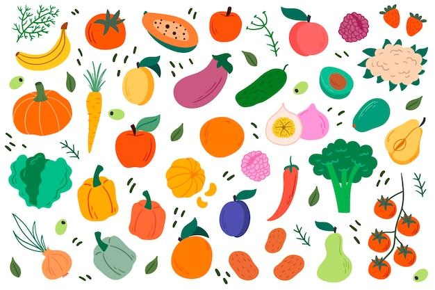Векторный набор фруктов и овощей. здоровая пища
