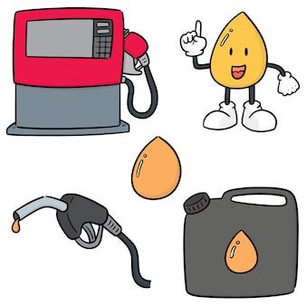 가스와 연료의 벡터 세트