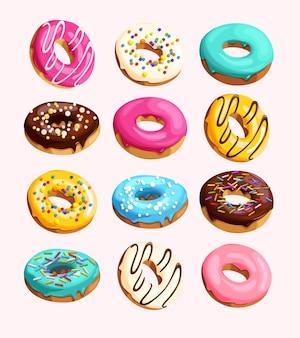 Векторный набор глазированных пончиков