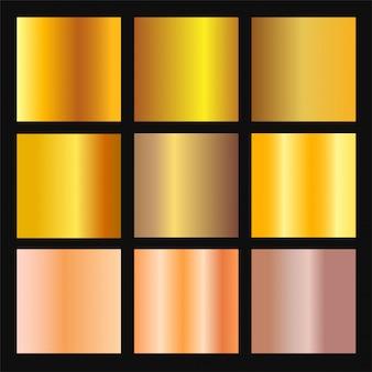 ゴールドとブロンズのグラデーションの背景のベクトルを設定します。ボーダー、フレーム、リボン、ラベルデザインの黄金と金属のグラデーションコレクション。色見本。金箔テクスチャーグラデーション。