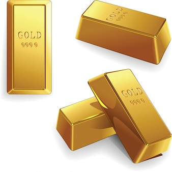 Векторный набор золотых слитков