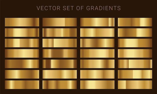 金のグラデーションのベクトルセット