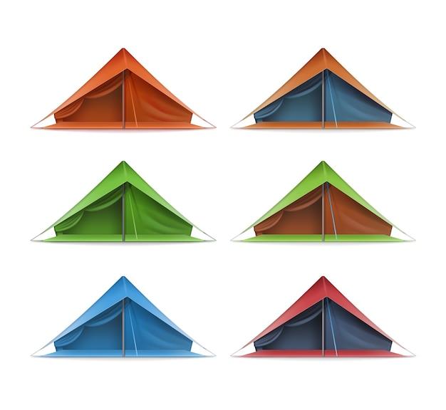 白い背景で隔離の旅行やキャンプの正面図の緑、赤、青の観光テントのベクトルセット