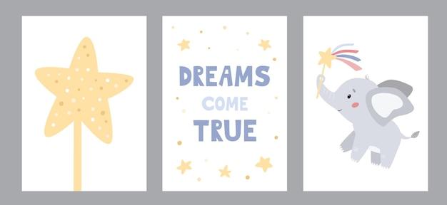 마술 지팡이가 있는 귀여운 만화 코끼리가 있는 보육원용 인사말 카드 및 포스터 벡터 세트