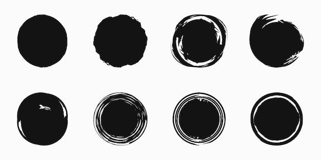 Векторный набор гранж мазки кистью круг для рамок, значков, элементов дизайна