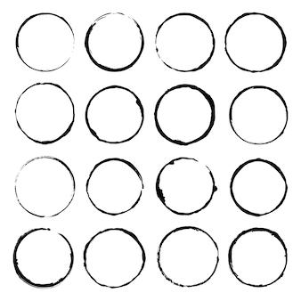 Векторный набор гранж круг кисти векторная иллюстрация