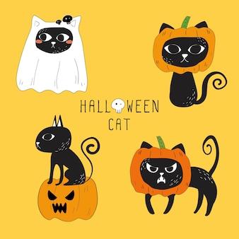 ハロウィーンの黒い猫のベクトルのセット。