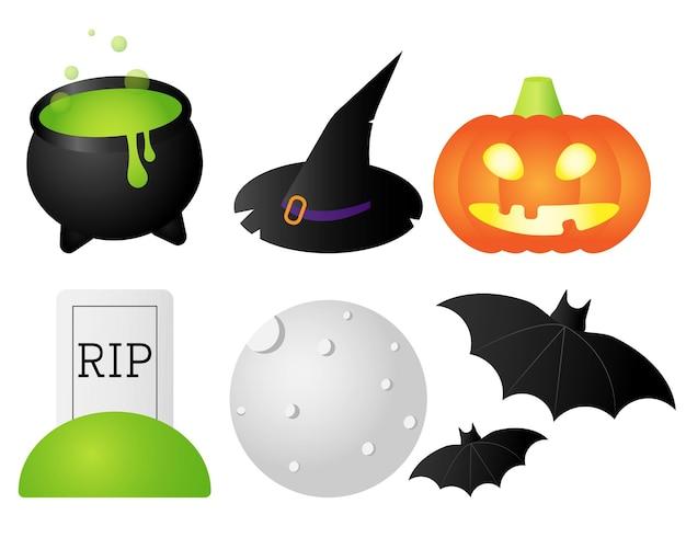 Векторный набор иллюстраций хэллоуина в плоском стиле