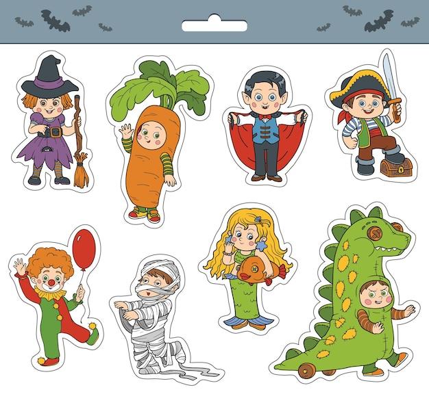 카니발 의상을 입은 아이들과 함께 할로윈 키즈 캐릭터 컬러 만화 스티커의 벡터 세트