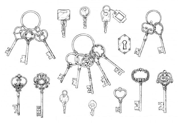 손으로 그린 골동품 키의 벡터 집합입니다. 스케치 스타일의 일러스트입니다. 오래된 디자인.