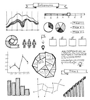 白い背景の上の手描き落書きインフォグラフィックのベクトルセット