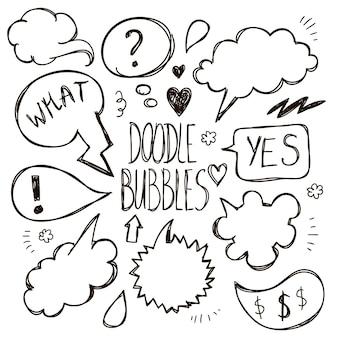 Векторный набор рисованной, каракули речи пузыри. мультфильм, комиксы, говорящая общительная иллюстрация