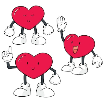 Vector set of heart cartoon