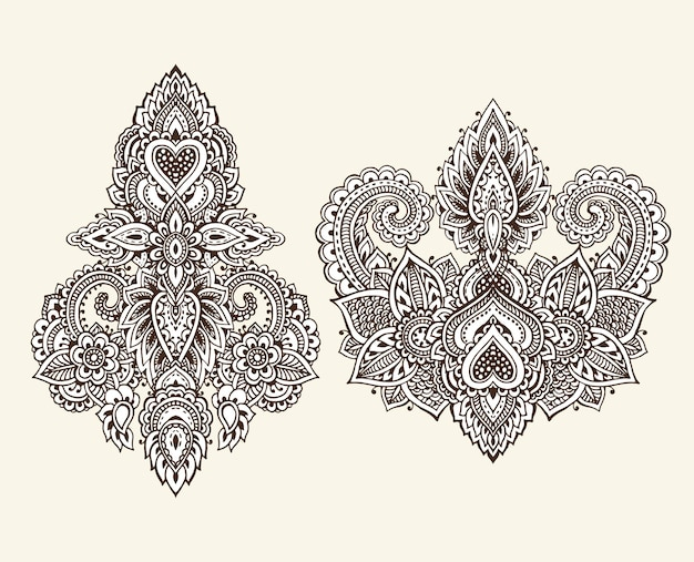 伝統的なアジアの装飾品に基づいてヘナの花の要素のベクトルセット。