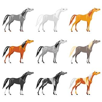 Векторный набор лошадей