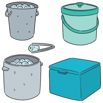 얼음 양동이의 벡터 세트
