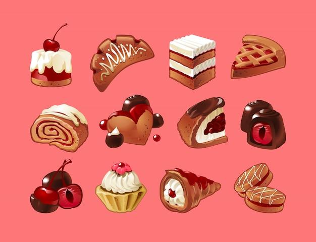 Векторный набор значков конфет
