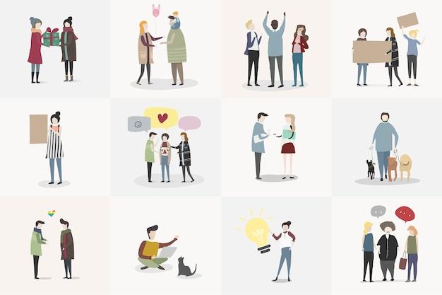 Векторный набор иллюстрированных людей
