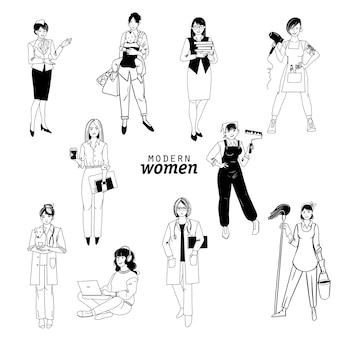 さまざまな職業の女性のイラストのベクトルセット:医師、画家、クリーナー、獣医、教師、マネージャー、サラリーマン。水彩とスケッチのイラスト。