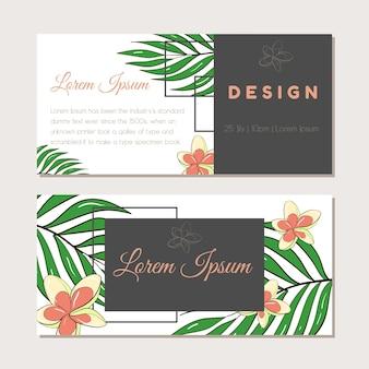 엽서, 명함 또는 광고 배너에 대한 그림 템플릿의 벡터 집합입니다. 텍스트를 위한 공간입니다. 재고 그림입니다. 결혼식이나 행사를 위한 열대 식물이 있는 배너 모음.