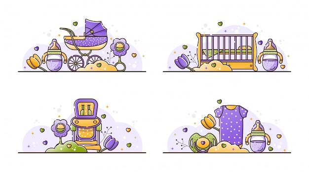 Векторный набор иллюстраций с детскими аксессуарами
