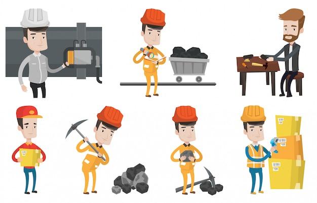 Векторный набор промышленных рабочих.