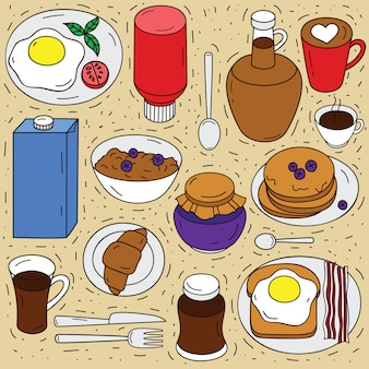 朝食の食材のベクトルを設定します。食品上面の手描きイラストをスケッチします。食べるためのスタイル要素を落書き