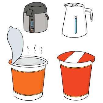 Векторный набор лапши быстрого приготовления и чайника