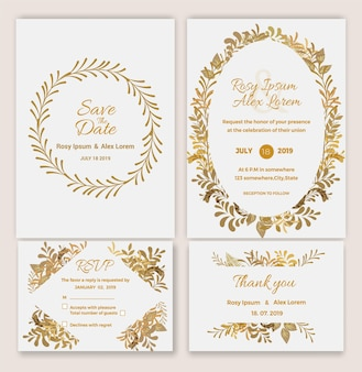 Vector set of invitation cards