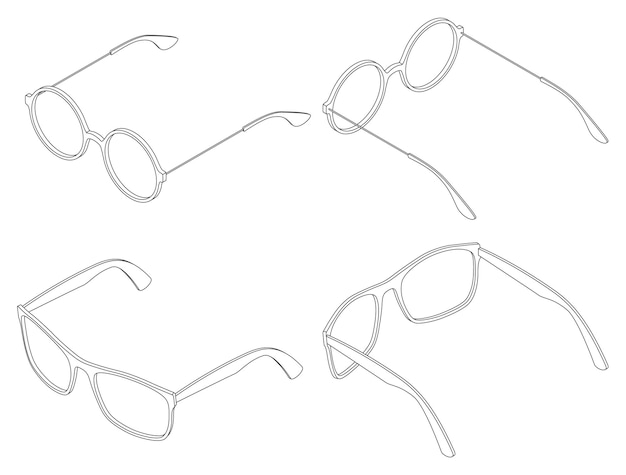 Векторный набор изометрических очков окуляры круглые и квадратные линии искусства