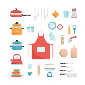 Векторный набор кухонных принадлежностей коллекция посуды много кухонных принадлежностей, посуды, столовых приборов