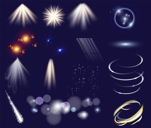 光の効果のベクトルを設定します。孤立したクリップアートテンプレートオブジェクト。輝く光の星が輝きます。魔法の輝き効果。