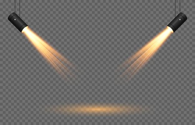 光源のベクトルセット光源スタジオ照明壁png黄色の金色の光スポット照明スポットライトpng光線光効果