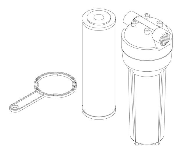 라인 아트 정수 필터 카트리지, 기본 상자 및 렌치의 벡터 세트