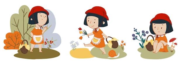 赤ずきんの女の子のキャラクターのベクトルセット