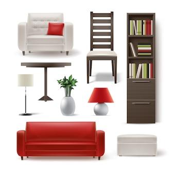 거실 가구 갈색 나무 책장, 식당 의자, 흰색 안락 의자, 라운드 테이블, 식물, 플로어 램프, pouf 및 배경에 고립 된 빨간 소파의 벡터 세트
