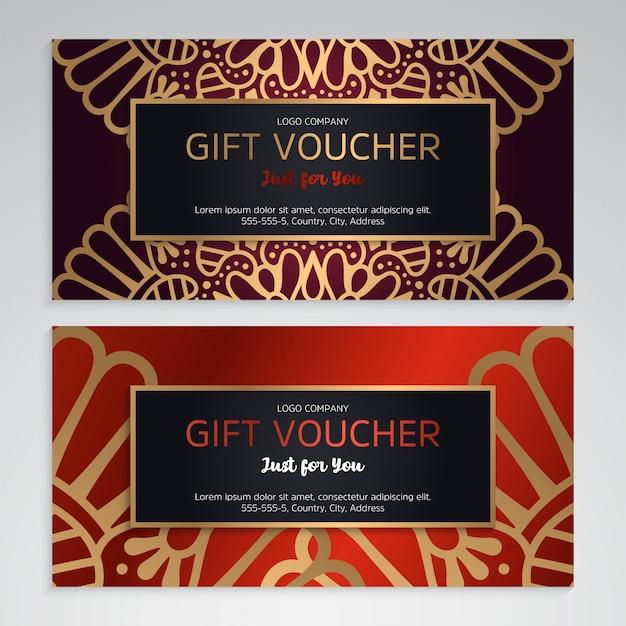 Векторный набор роскошных красных подарочных сертификатов