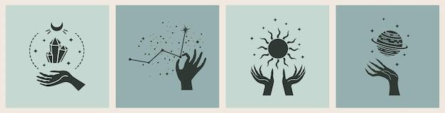 謎のイラストと魔法のカードのベクトルセット。魔法のカード。
