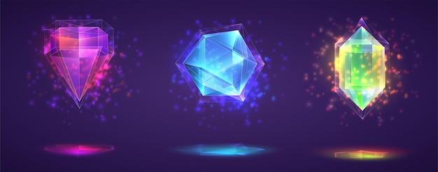 Векторный набор магических кристаллов. яркая радуга обработанный драгоценный камень