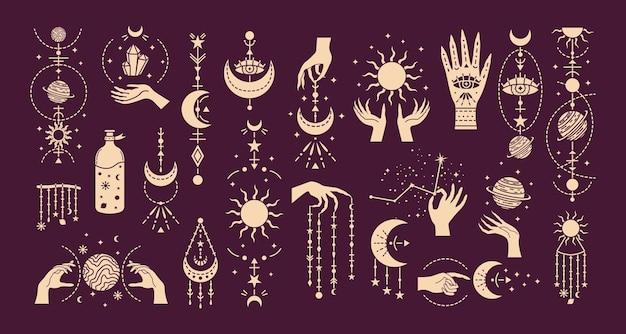 謎のシンボルと魔法のイラストのベクトルセット。魔法のカード。