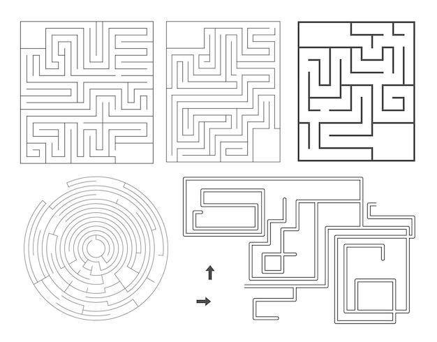 迷路テンプレートのベクトルセット。白地に分離された空白の黒と白の迷路コレクション。就学前の印刷可能な教育活動またはゲームのサンプル。