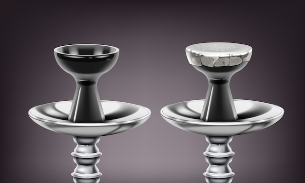 Векторный набор металлических стержней кальяна и керамических чаш с фольгой или без нее крупным планом на темном фоне