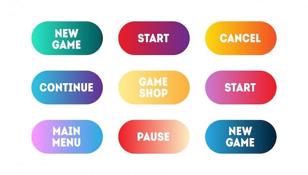 다른 그라디언트 현대 응용 프로그램 또는 게임 버튼의 벡터 집합입니다. 사용자 인터페이스 웹 버튼, 머티리얼 디자인
