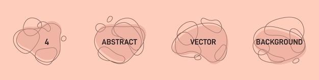 現代の創造的な抽象的なピンクの背景のベクトルセット。ミニマリストシンプルスタイルのアウトライン付きのフラットな幾何学的形状テキスト用のコピースペース付き-ロゴのデザインテンプレート-ソーシャルメディアストーリー