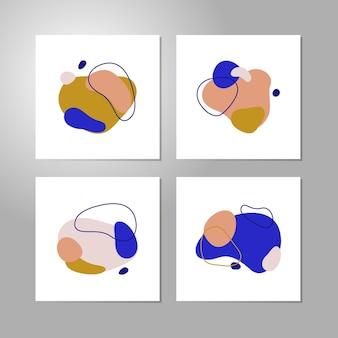 現代の創造的な抽象的なポスターのベクトルセット。ミニマリストシンプルスタイルのアウトライン付きの平らな幾何学的形状-はがきのデザインテンプレート